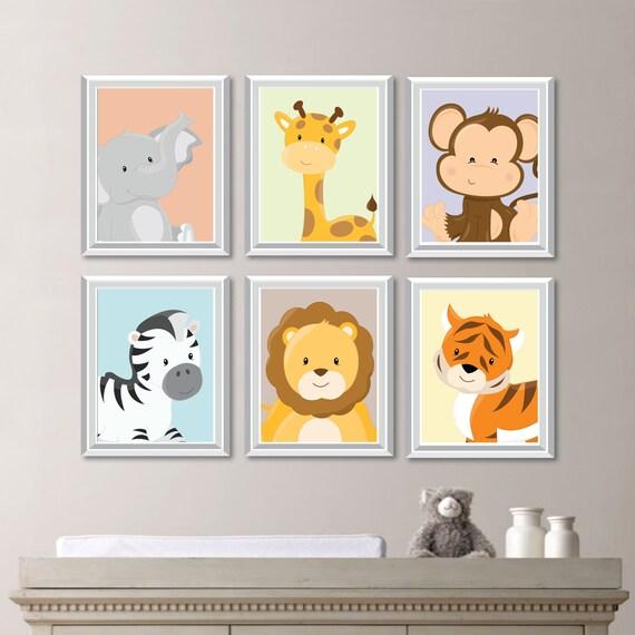 Safari Nursery Decor Jungle Theme Nursery Nursery Artwork: Baby Nursery Print Art Animal Nursery Decor Jungle Nursery