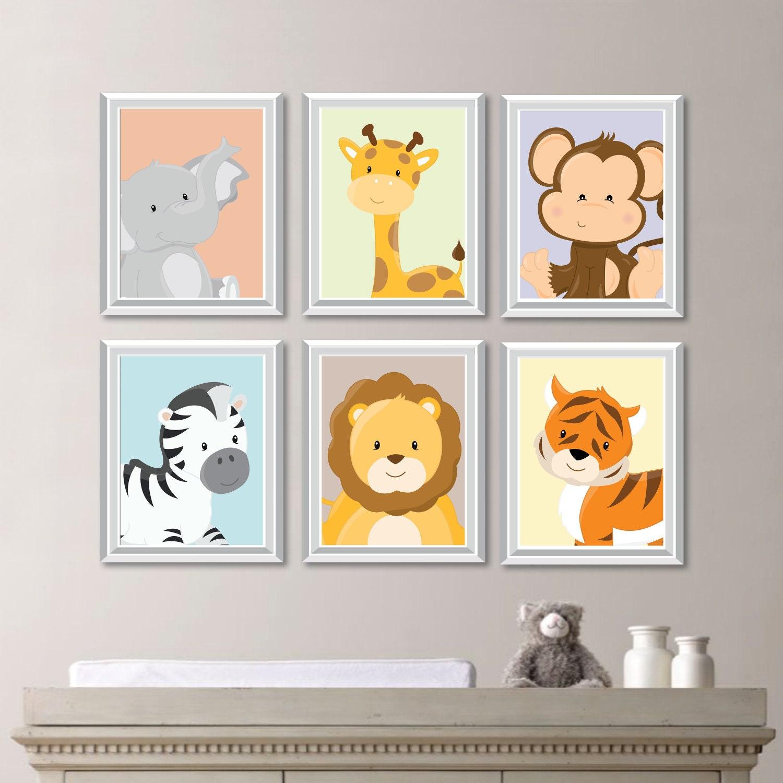 baby nursery print art animal nursery decor jungle nursery. Black Bedroom Furniture Sets. Home Design Ideas