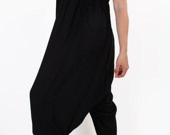 Black Harem Pants*Plus Size Hippie Pants*Beach Wear* Elastic Waist Panths*Wide Leg Pants*Maxi Yoga Trousers*Beach Pants