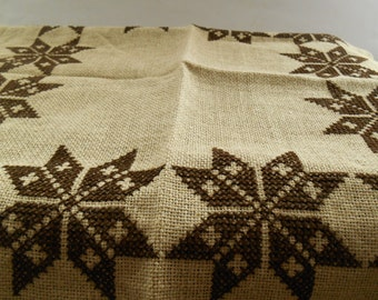 Embroidered Cross Stitched Napkin Brown Burlap Napkin Small Square Table  Cloth Cross Stitch Placemat