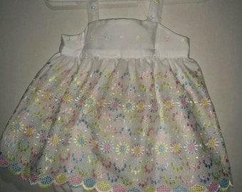 Girls Baby Infant Sister Set White Wedding Flower Girl Eyelet Halter Dress and Bloomer Set Outfit Babydoll Easter Dress Pastels Spring