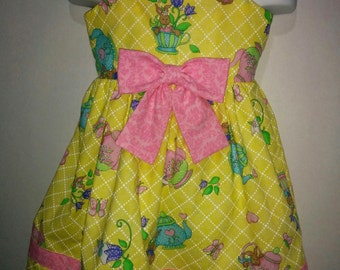 Girls Donna Dewberry Daisy Kingdom Tea Party Boutique Twirl Twirly Summer Spring Dress Outfit! Easter Bunny Rabbit Girl Toddler Baby Dress
