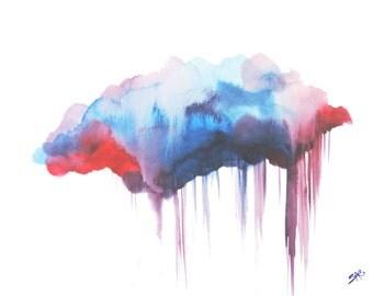 Art Print, Cloud Watercolor, Canvas Art Nature Inspired, Watercolor Art, Cloud Art, Rain cloud, Modern Art, Wall Decor