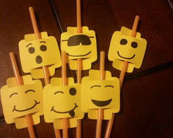 Lego straw toppers