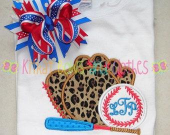 Baseball, Glove, and Bat Applique Shirt and Matching Hairbow - Baseball - Softball - Sports
