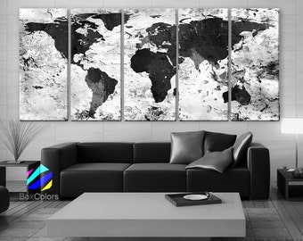Painted world map etsy xlarge 30x 70 5 panels art canvas print world map original watercolor texture gumiabroncs Choice Image