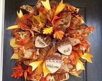 Fall deco mesh wreath   fall mesh wreath with acorns Happy Fall Welcome wreath, front door wreath