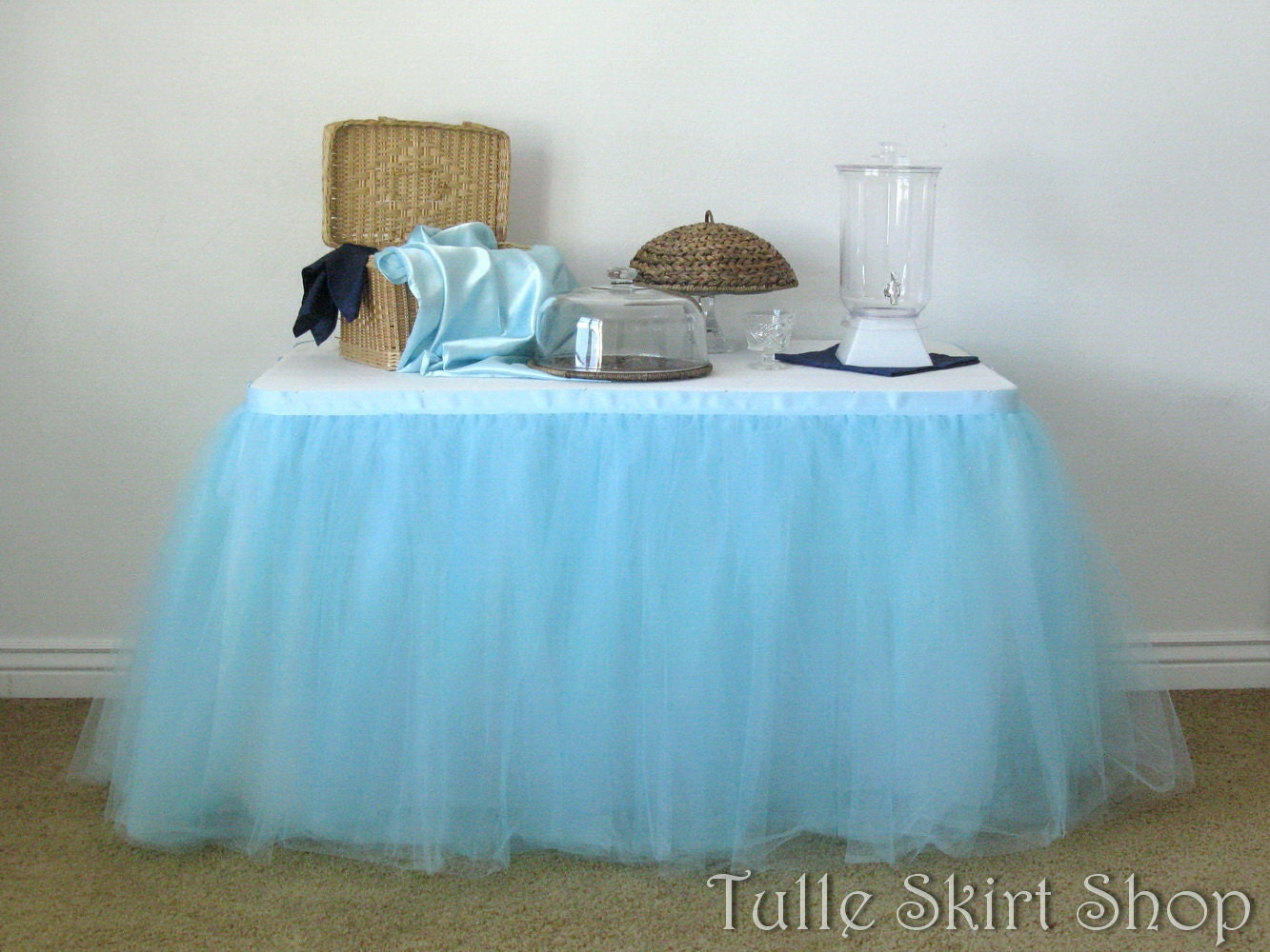 Blue Tulle Table Skirt Tutu Tableskirt For Wedding Birthday