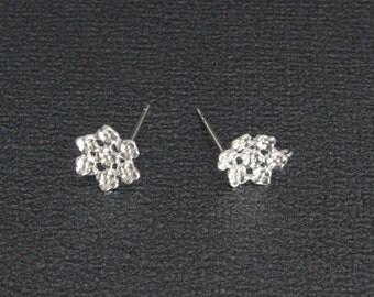 Silver Steel Stud Earrings Findings,1 Pair-9mm, Flower Earrings stud with loop Jewelry Findings Earring Hooks Jewelry Making