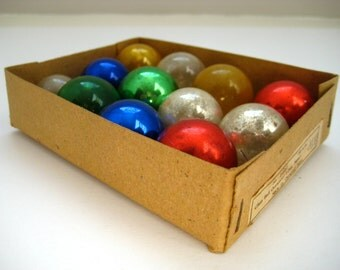 Multicolor Glass Ball Christmas Ornaments Made in Occupied Japan Vintage 1940's