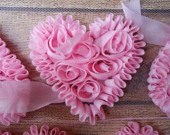 """Light Pink 3"""" Chiffon Heart Trim,Chiffon Ribbon Heart, Headband Supplies,Wholesale"""