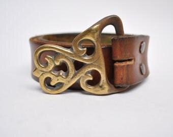 vintage belt buckle 1970s solid brass hippie boho hobo bohemian 70s
