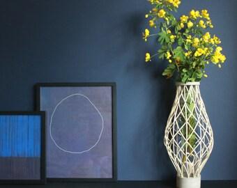 Vava Vessel - Concrete Cork Rattan Weaved Handblown Glass Vessel | Vase | Bud Vase