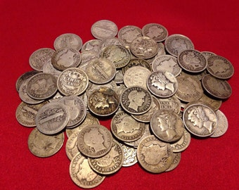 Old U.S. Silver Coins // Mercury Dime + Barber Dime // 1892-1945 // 90% Silver // 2 COINS