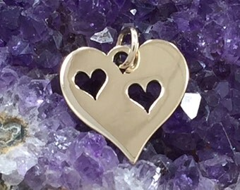 Heart Charm, Heart Pendant, Two Cut Out Heart Charm, Bronze Heart Charm, Heart Cut Out Charm, Mother and Child Heart Charm, PB0143
