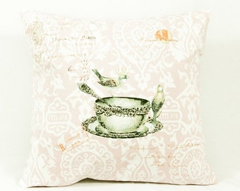 tea cup pillow, vintage pillows, anniversary, decorative pillows, throw pillows, unique gifts, birthday, bridesmaids gifts, christmas