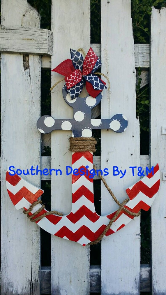 wooden anchor door hanger wall decoration by