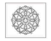 Black and white design for meditation and home decor. Hand drawn mandala with sacred geometry: star of David, point, circle and triangles.