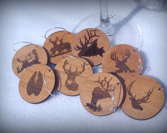 Wine Glass Charms Tags ,Deer, Elk, Moose, Rustic, Hunting, Wildlife - For Wine Glasses, Decorative, Stemware, Party, Drink-ware, Set of 8