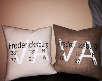 City latitude and longitude/GPS coordinates pillow cover