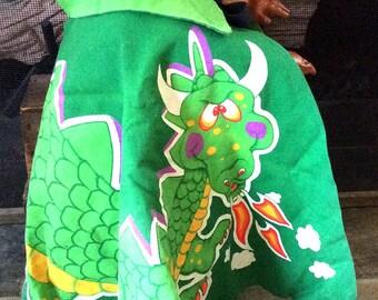 RARE Vintage Estate Children's Costume Pretend Play Dragon Cape Puff The Magic Dragon Pete's Dragon