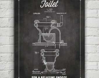 The Toilet Patent Humor poster - Vintage-style Laundry Room and Bathroom Decor