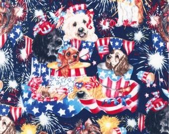 Handdmade 100% Cotton  Red White Blue  Patriotic Puppy Window Curtain Valance