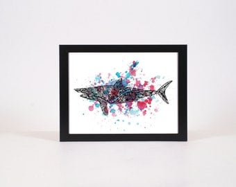 Shark print Fish Detailed prints old prints Natural History art home decor wall art Custom Art Print Nature print Ocean Decor beach decor