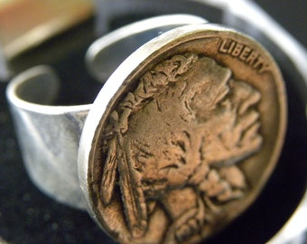 1930 to 1937 Buffalo Indian Nickel coin readable various  dates adjustable 6 to 11 size  Native American Indian style silver plated ring
