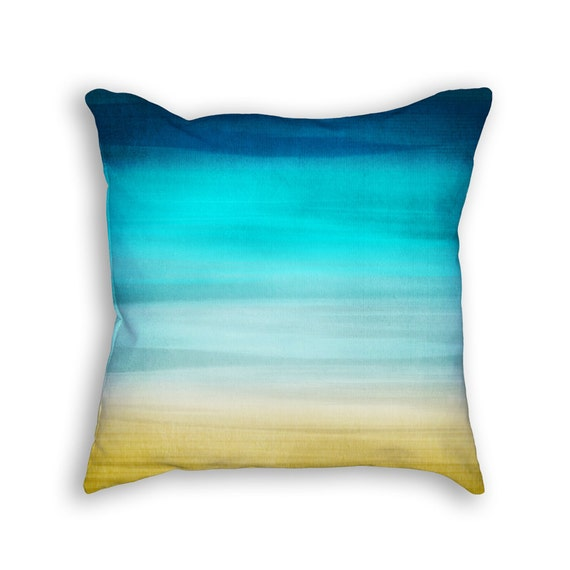 Modern Abstract Pillow : Modern Abstract Pillow blue teal beige by HomeDecorativeDesign
