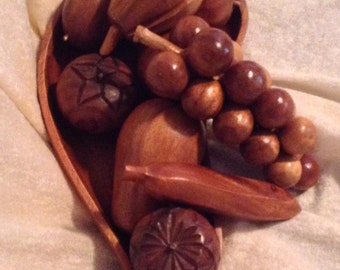 Very Retro Wooden Fruit And Bowl
