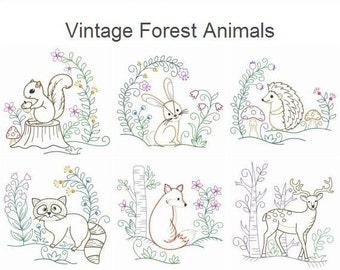 Vintage Baby Animals 2 Machine Embroidery Designs Instant