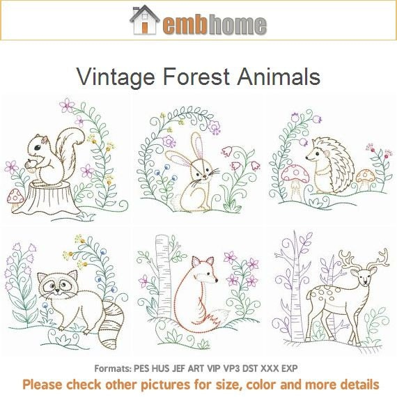 Vintage forest animals machine embroidery designs instant