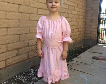 Girls Upcycled Pink Peasant Dress