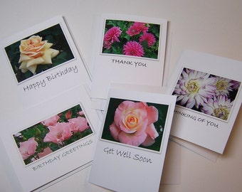 Floral Photo Greeting Card Set/ photo greeting cards/5 Greeting Cards