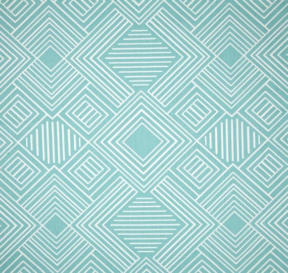 Geometric Aqua Blue Fabric Designer Home Decor Fabric By The