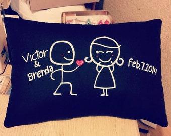 Stick Figure Pillow Love
