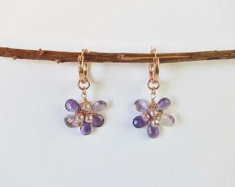 Purple Amethyst, Pink Amethyst and Freshwater Pearl 14K Rose Gold Filled Handmade Flower Drop Earrings