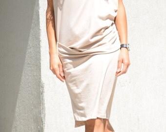 beige dress, loose fitting dress, ivory dress, midi dress, bridesmaid dress, knee-length dress, Bridesmaid Dresses, beige party dress