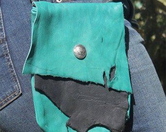 Rustic Deerskin Belt Loop Hip Bag, Teal and Black