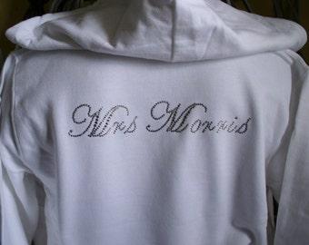 Crystal Bride Hoodie. Stunning white hoodie decorated with crystal wording Bride front & bavk