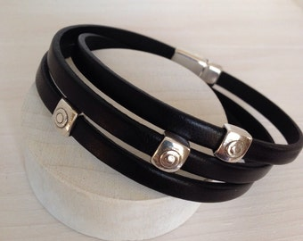 Leather Triple Wrap Bracelet
