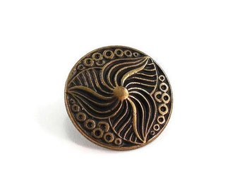 Vintage Style Decorative Metal Buttons 18mm Bronze Antique Brass Qty 3