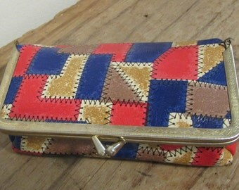 Cosmetic Purse, Vinyl, Faux Pieced Leather Design, Mirror, Hong Kong, 1960's