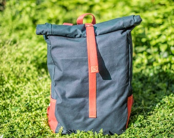Navy - red rolltop backpack, canvas backpack, laptop backpack, school backpack, bike backpack, best backpack, cotton rucksack