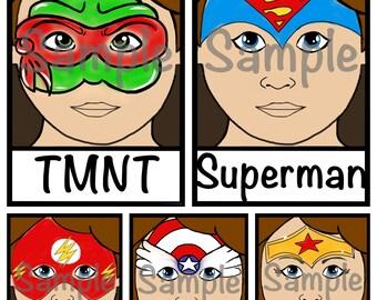Face Paint Menu - Wonder Woman, The Flash, Superman, Cpt America, TMNT