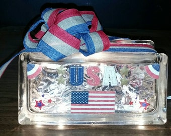 PATRIOTIC USA America Lighted Glass Block Nightlight/Decoration 4th of July