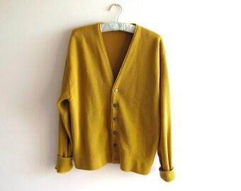 Mustard Yellow Cardigan // Medium