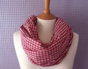 Red and white gingham lightweight cotton scarf and snood