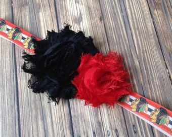 Chicago Blackhawks Red and Black Shabby Flower Headband, Baby Headband, Toddler Headband, Girls Headband